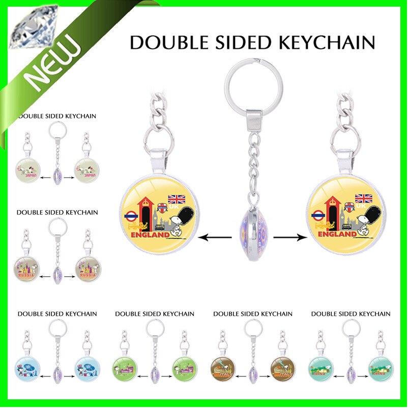 Charlie Brown cute Beagle keychain for keys peanuts Beagle Harriers key ring dog Double sided Pendant charm key holder