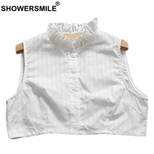 SHOWERSMILE Women Detachable Collar Cotton Ruffle Removable Female White Solid Elegant Ladies Breathable Fake Collars