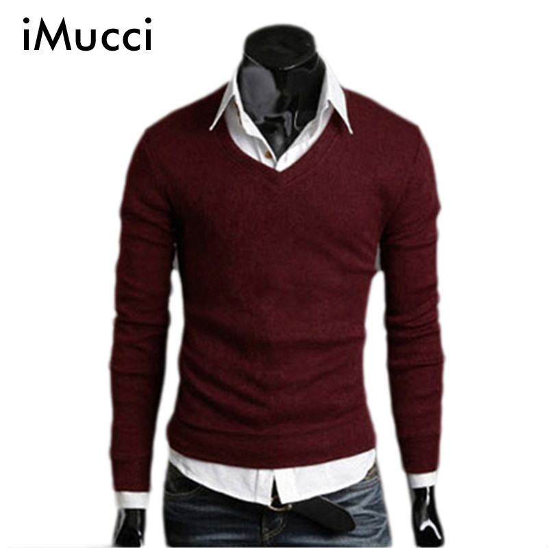 Autumn Fall Mens Knit Sweater Thick Plush Wool California V-neck Sweater Bottoming 4 Size 6 Colors Free Shipping