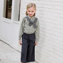 CANDYDOLL  Girls autumn outfit pants broad leg in the child high waist stripe seven minutes Cotton trousers