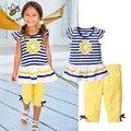 Flor de verano Niñas Ropa Conjuntos Niños Ropa de Bebé Traje A Rayas de Manga Corta Camiseta + Pantalones Chicas Ropa Niños Ropa