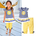 Summer Flower Girls Clothing Sets Baby Kids Clothes Suit Striped Short Sleeve T-shirt + Pants Girls Clothes Children Clothing