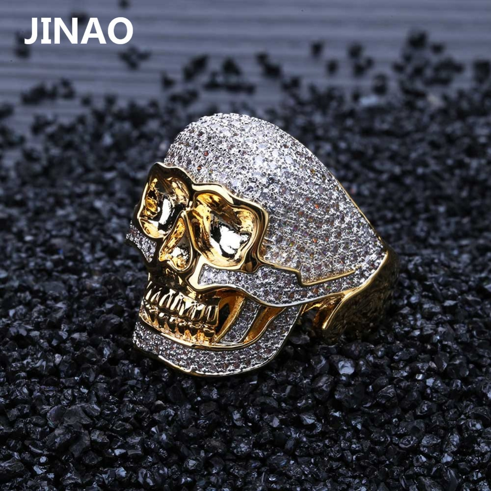 JINAO Hip Hop Copper Two Tone Skull Ring Iced Out Micro Paved Cubic Zircon Punk Fahion Ring for Men Women with 7,8,9,10,11 Size punk style solid color hollow out ring for women