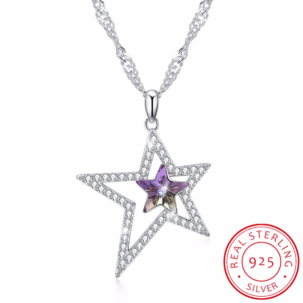 LEKANI Crystals From Swarovski Necklace 925 Size five pointed star necklace Women's accessories boutique jewelry Long pendant