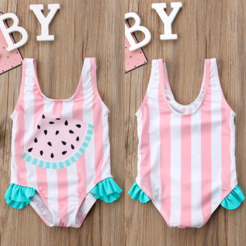 Pudcoco Baby Girls Cute Swimwear Bow Tankini Watermelon Striped Bikini Swimsuit Bathing Suit Beachwear