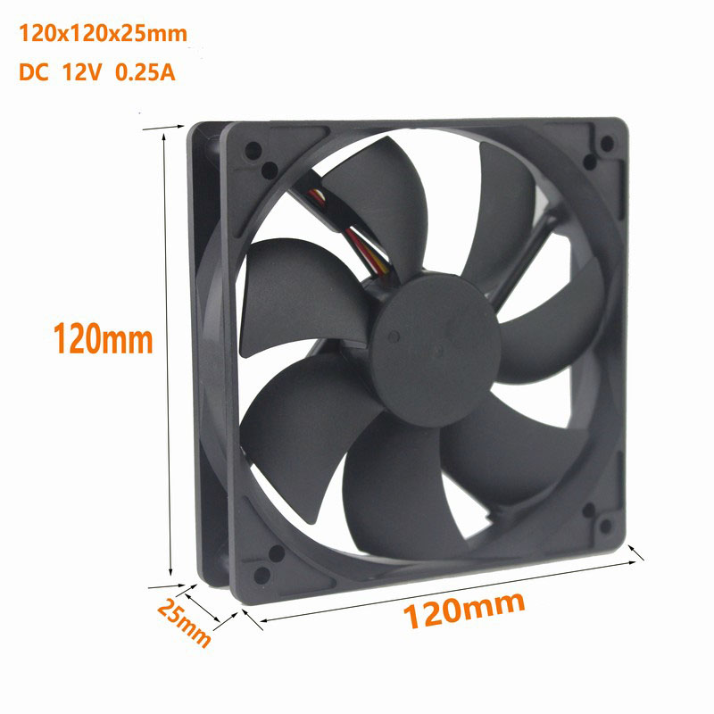 Купить с кэшбэком Gdstime 2 pcs Silent 12cm 120mm x 25mm 4Pin FG PWM DC 12V Hydraumatic Bearing 12025 Computer PC Case Cooling Fan 120x120x25mm