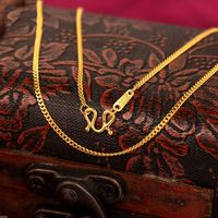Fine Pure 999 24K Yellow Gold Chain Women Curb Link Solid Necklace 16.5inch