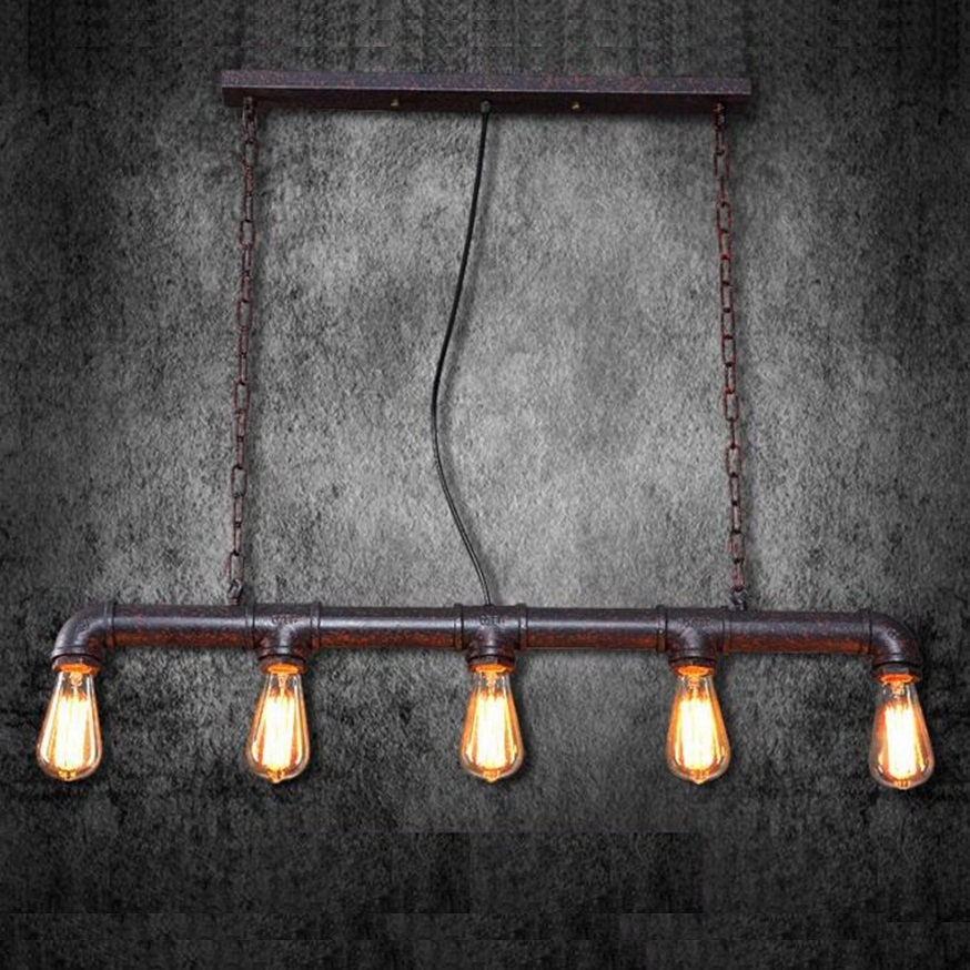 LukLoy Loft Pendant Lights, Vintage Metal Water Pipe Pendant Lamp Retro for Loft Kitchen Dining Room Villas Castle Decor lukloy pendant lights lamp vintage iron retro kitchen pendant lamp light for dining room kitchen island decor e27 e26 luminaire