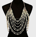 FREE SHIPPING New BY470 Women Gold Chains White Imitation Pearls Beads Chains Body Chains Jewelry 2 Colors