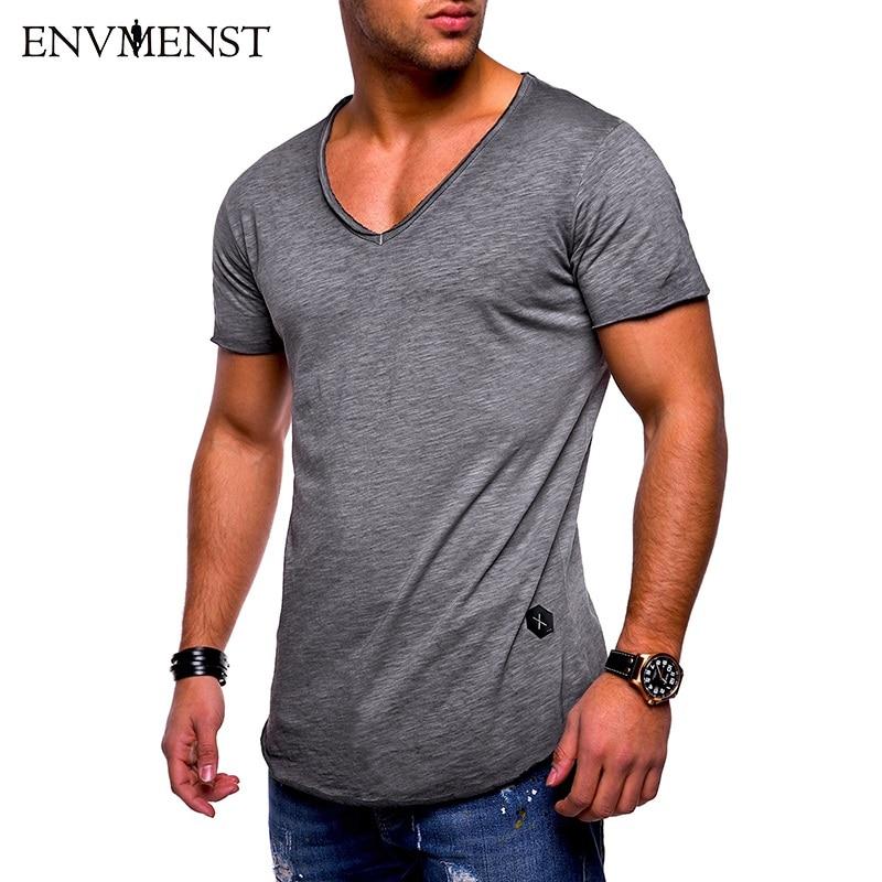 Envmenst 2018 merk kleding Heren basic t-shirt effen katoen v-hals - Herenkleding