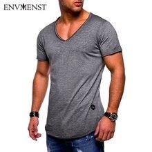 Envmenst 2018 Brand Clothing Menn Basic T-skjorte Solid Cotton V Neck Slim Fit Menn Fashion T-skjorter