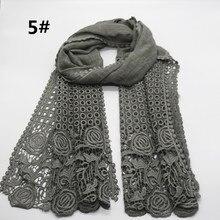 Роскошная вышивка полые хиджаб с кружевом модные мягкие хлопковые шали шарф цветок пашмины