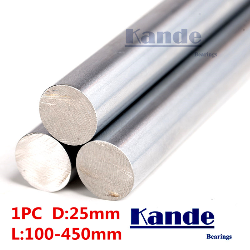 Kande Bearings 1pc d:25mm 3D printer rod shaft 25mm linear shaft 100mm chrome plated rod shaft CNC parts 100-450mm