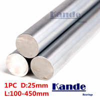 Kande Bearings 1pc d:25mm 3D printer rod shaft 25mm linear shaft 100mm chrome plated rod shaft CNC parts 100-450mm