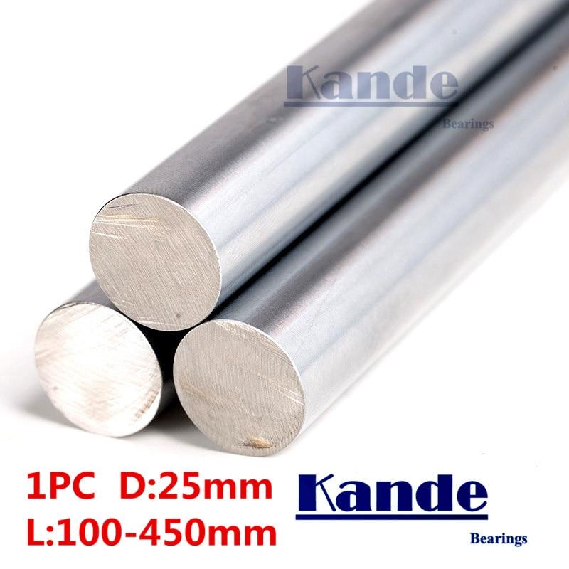 Kande Bearings 1pc d:25mm  3D printer rod shaft 25mm linear shaft 100mm chrome plated rod shaft CNC parts 100-450mmKande Bearings 1pc d:25mm  3D printer rod shaft 25mm linear shaft 100mm chrome plated rod shaft CNC parts 100-450mm