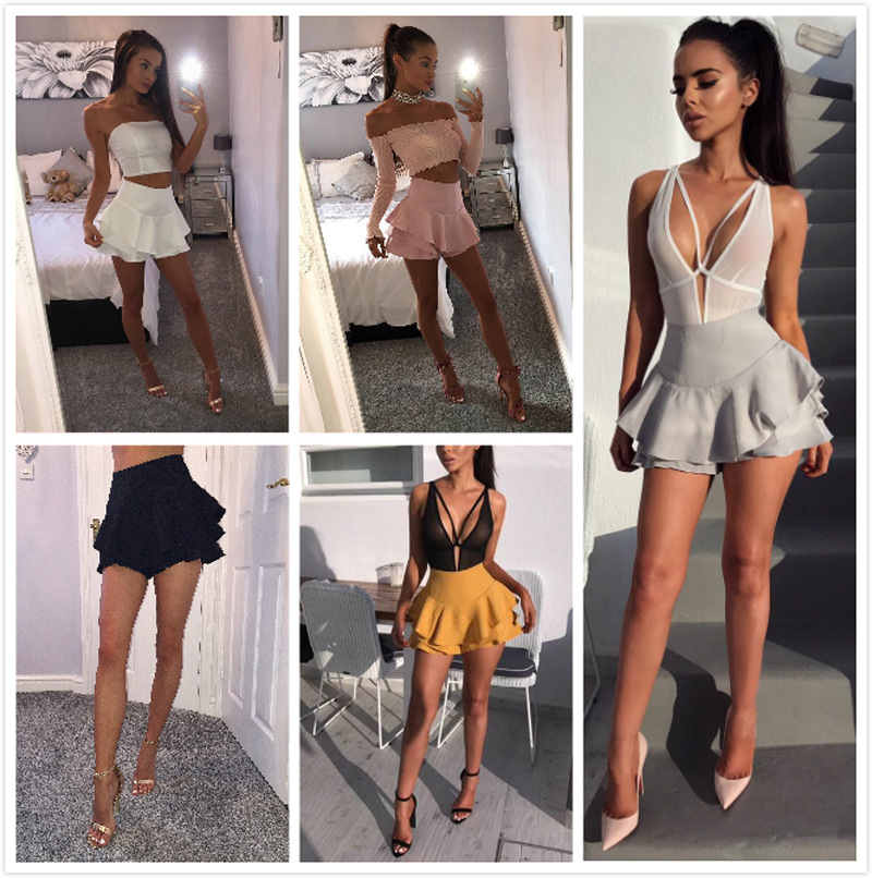 Solid High Waist Shorts Women 2019 Summer Layered Ruffled Frill Shorts Feemes Brief Slim Shorts Elegant Fashion Mini Skirt Short