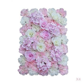 Pack of 4 Romantic Artificial Rose Hydrangea Silk Flower Wall Panels Wedding Venue Background Stage Decoration Pink White