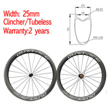 Width 25mm Chinese Carbon Road Bike Wheels 50mm Clincher Tubeless Ceramic Hub Bicycle Wheelset Customized OEM decal Sticker 2017 yuan an wheelsets 25mm width 60mm depth dt swiss 350shub clincher carbon road bike wheels with pillar 1432 spoke