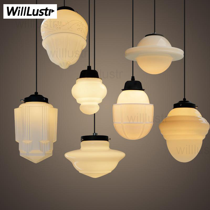 Art Deco suspension lamp dinning room vintage milk glass pendant lamp white glass pendant light Nordic lighting hotel restaurant modern tossb disc pendant lamp belgium design lighting toss b disk light white black color hotel restaurant suspension lighting