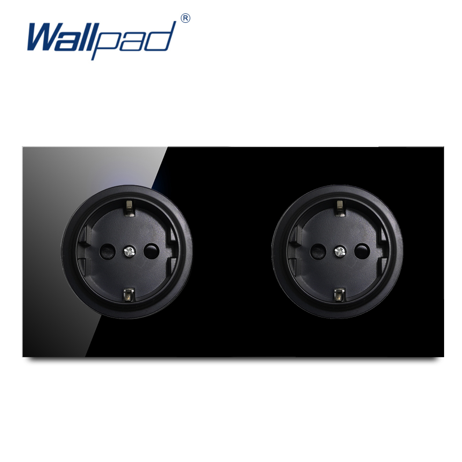 Wallpad Crystal Tempered Pure Black Glass Panel 16A Double EU German Standard Wall Power Socket Outlet Grounded