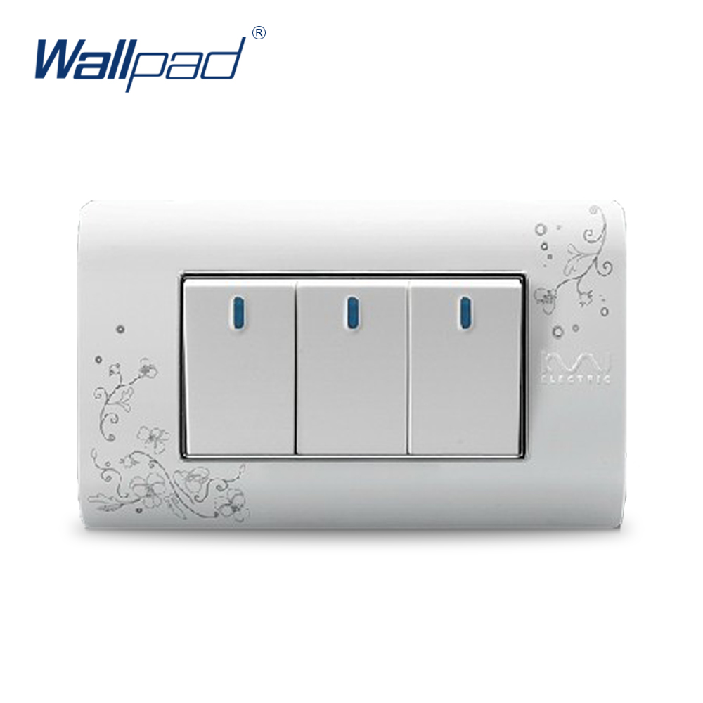 3 Gang 2 Way Wallpad Luxury Wall Switch Panel Light Switch Push Button Switch C30-118 118*72MM 110~250V uk standard luxury gold switch panel wall switch 110 250v 16a push button switch and 4 gang 2 way light switch