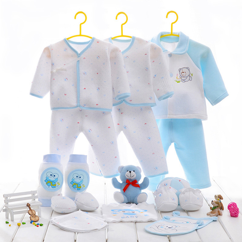 (21 PCS) 2016 Hot 100% Pure Cotton Baby Winter/Autumn Clothing Set Blue/Yellow/Pink Optional Toy Turn Down Collar Free Shipping
