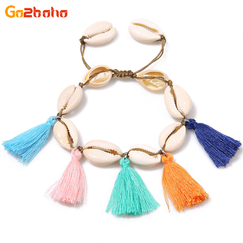 Go2boho Shell colorful tassels Bracelets women Bangles female Rope Chain Charms Bracelet Summer holiday beach Jewelry Bijoux