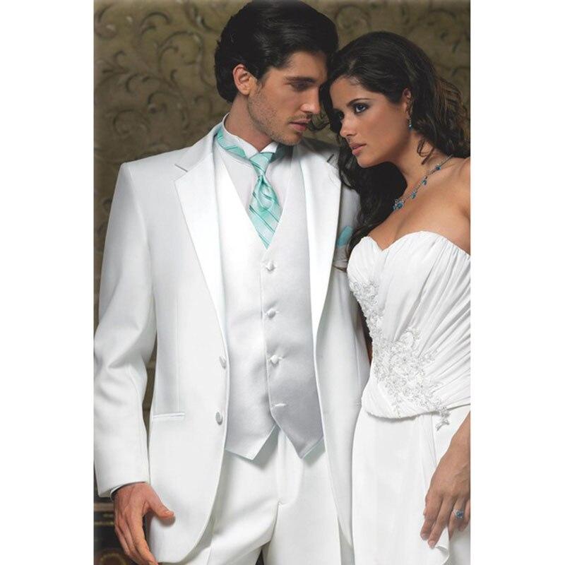 Новинка 2017 года Формальные белые свадебные костюмы для мужчин Зубчатый нагрудные женихи смокинги две пуговицы s костюм обрезать