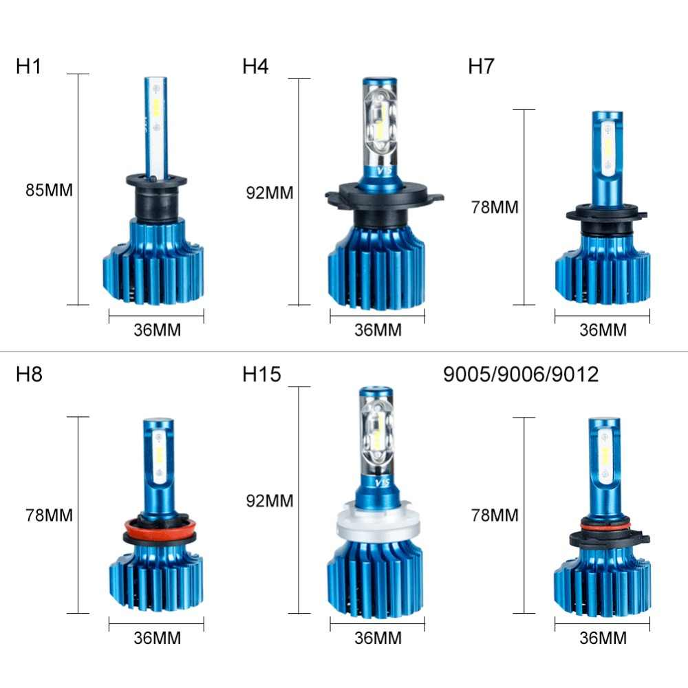 Aceersun H7 LED H4 Car Headlight Bulbs H8 H11 HB3 9005 HB4 9006 H1 9012 H15 Hi-Lo Beam 72W 12000LM CSP Chip Fog Light Lamps Bulb