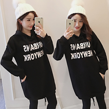 Autumn and winter long sleeves loose pregnant women hooded sweater dress letters plus velvet thickened maternity dress