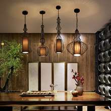 Vintage Iron Black Pendant Light Cage Lampshade Hanging Lamps E27 Droplight Retro Bar Kitchen Light Fixtures