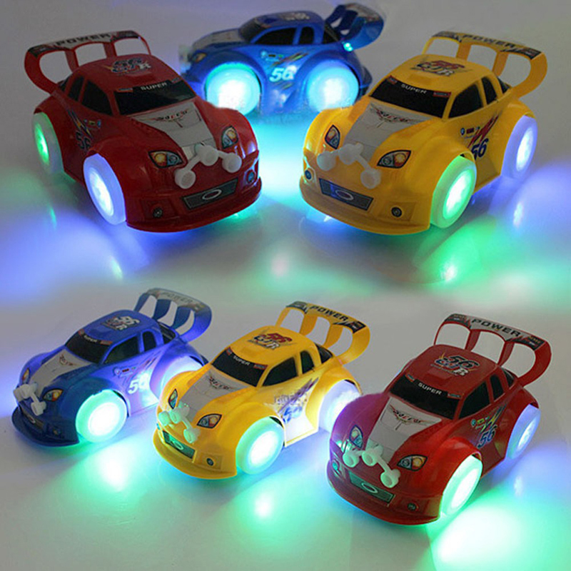 1pc Musical Toys Vehicles For Children Obstacle Automatic Steering Flashing Kids Luminous Racing Car Baby Educational Games Gift