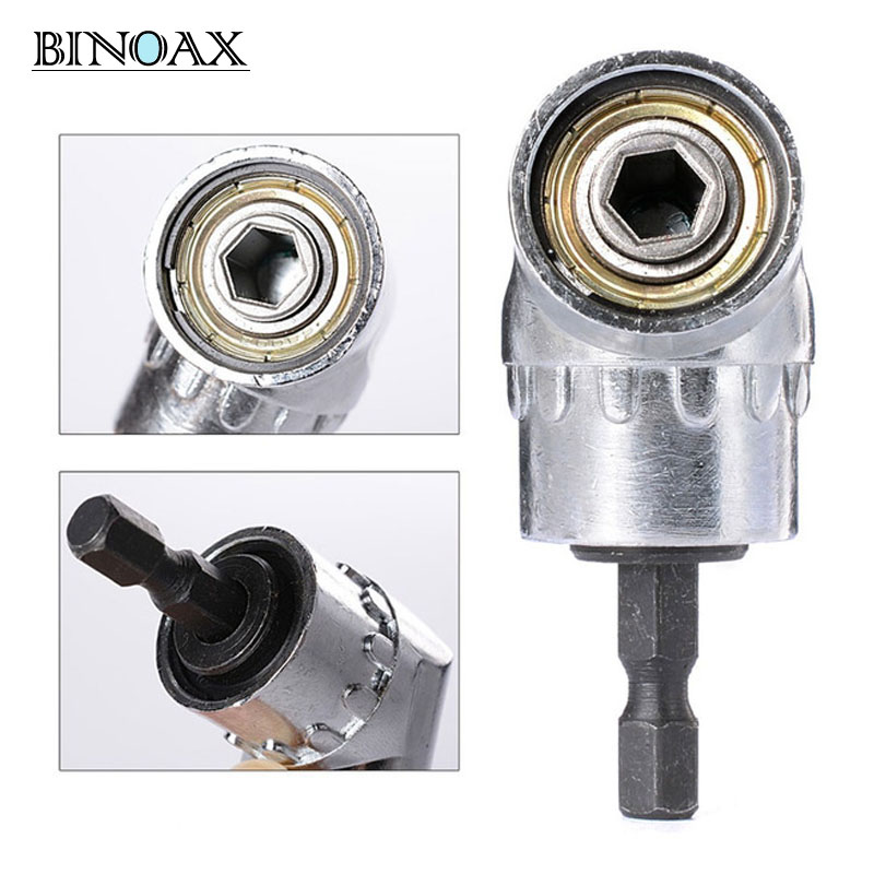 Binoax 105 Degrés 1/4 Électrique Hex Foret Réglable Hex Bit Angle Pilote Tournevis Socket Holder Adaptateur outils # P00038 #