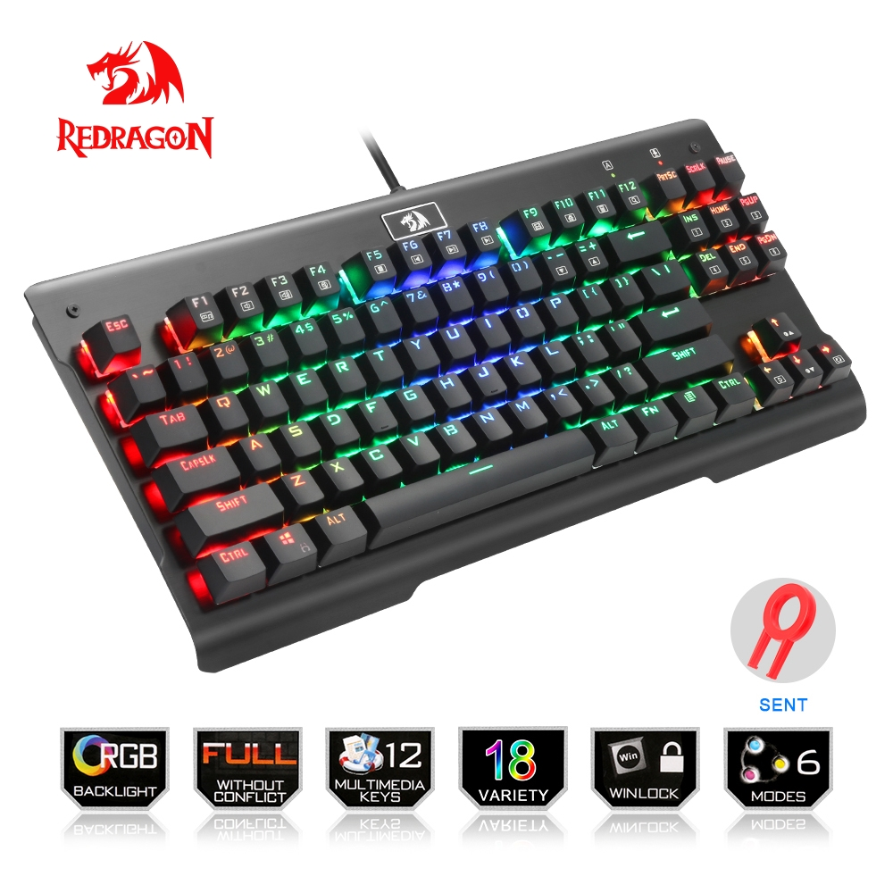 цена на Redragon USB mechanical gaming keyboard ergonomic RGB LED backlit keys Full key anti-ghosting 87 keys wired PC Computer Gamer