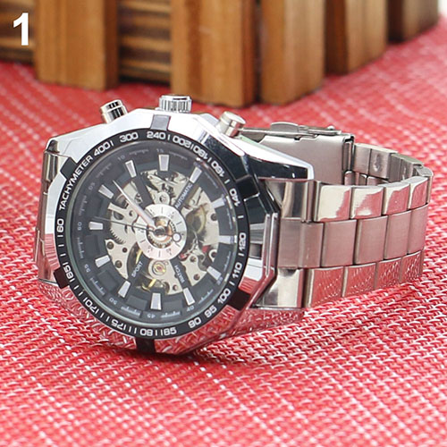 Fashion New 2017 Mens Watches Stainless Mechanical Watch Steel Hand-Winding Skeleton Automatic and Sport Wrist Watch  5LI8 6T3M grenn energy new mechanical analog stainless skeleton mens sport wrist watch rubber band