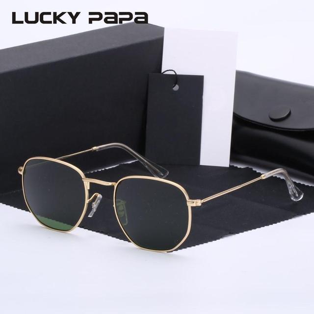 Len Klassisches Design g15 glass lens retro hexagonal sunglasses
