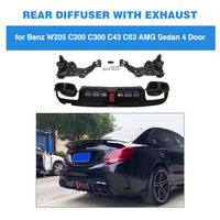 Rear Bumper Lip Diffuser Led Light with Exhaust Tips for mercedes benz C Class C200 C250 C300 C350 C400 C43 AMG C63 AMG S 14 19