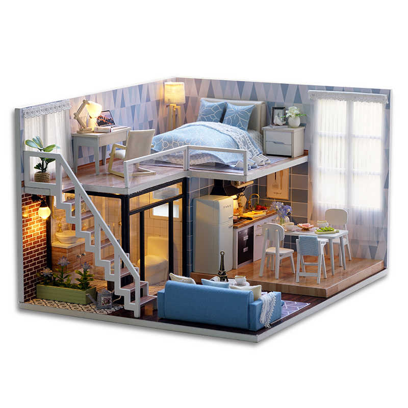 Blue Times Assemble DIY Doll House Toy 3D Wooden Miniatura Doll Houses Handmade Furniture Miniature Dollhouse Toys Gift for Kids