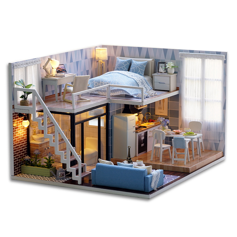 Blue Times Assemble DIY Doll House Toy 3D Wooden Miniatura Doll Houses Handmade Furniture Miniature Dollhouse Toys Gift for Kids large size diy wooden miniatura doll house with light music furniture handmade 3d miniature dollhouse toys wedding gits
