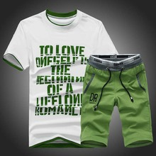 OLOEY 2019 summer mens sport suits shirt & shorts two piece men set slim fit jogging male casual korean print sporting suit