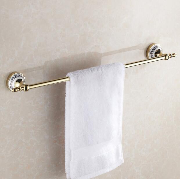 Free shipping Blue White Porcelain ceramic Chrome 60cm Single Towel Bar Towel Holder Towel Rack Bathroom
