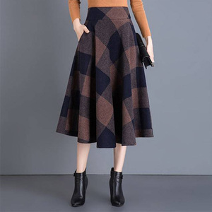 Image 2 - VANGULL Printed Plaid woolen Skirt 2019 Autumn new Plus Size High Waist Ball Gown Skirt Winter Casual Large swing Thick Skirts