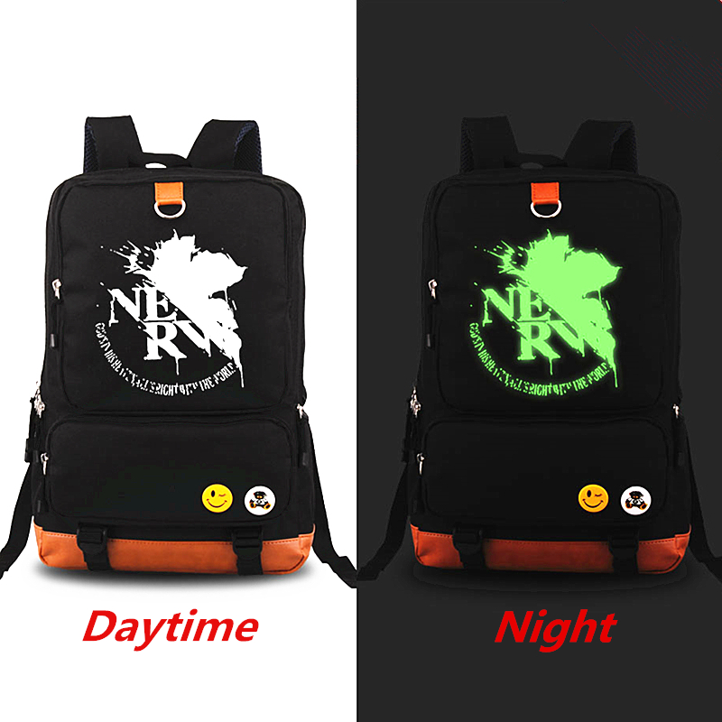 New Arrivals Evangelion Luminous Backpack Mochila Casual Canvas bag Man bag Computer Backpacks Student leisure bags Laptop Bag