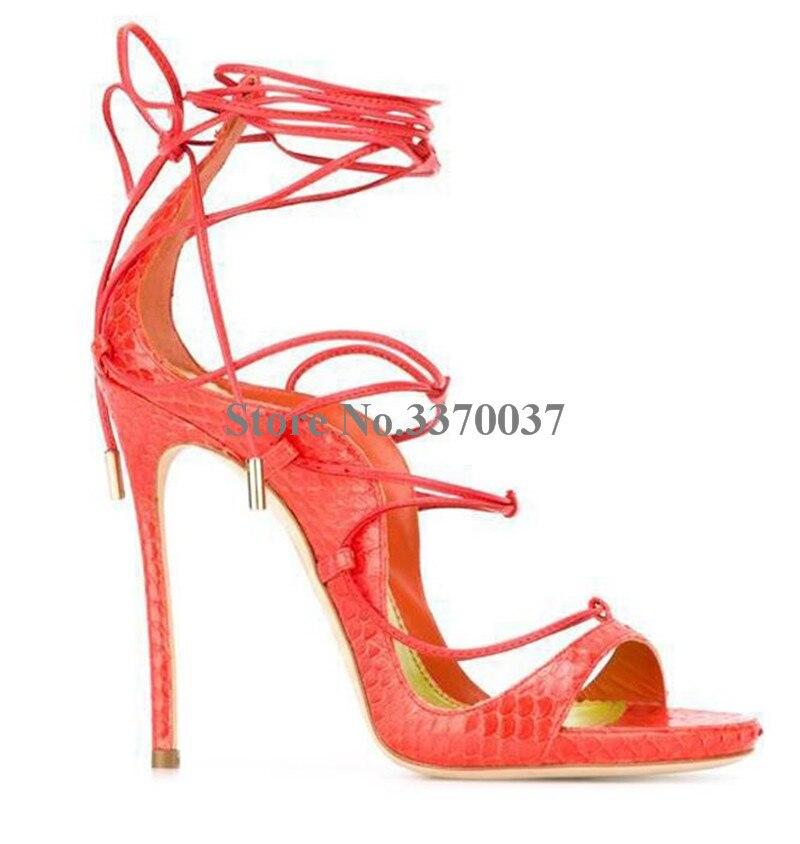 여성 여름 패션 오픈 발가락 스웨이드 가죽 스틸레토 얇은 뒤꿈치 검투사 샌들 발목 스트랩 레이스 업 하이힐 샌들 클럽 신발-에서하이힐부터 신발 의  그룹 2