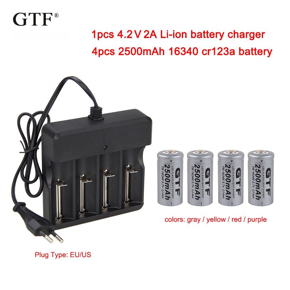 CR123A 4 pcs 3.7 V 2500 mah 16340 Bateria Li-ion Baterias Recarregáveis + 1 pcs UE/EUA 4.2 V 2A AC100-240V li-ion carregador de bateria