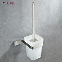 Square Solid Bathroom Toilet Brush Holder Stainless Steel Wall Mounted Toilet Brush Holder Set with Glass Toilet Brush Cup