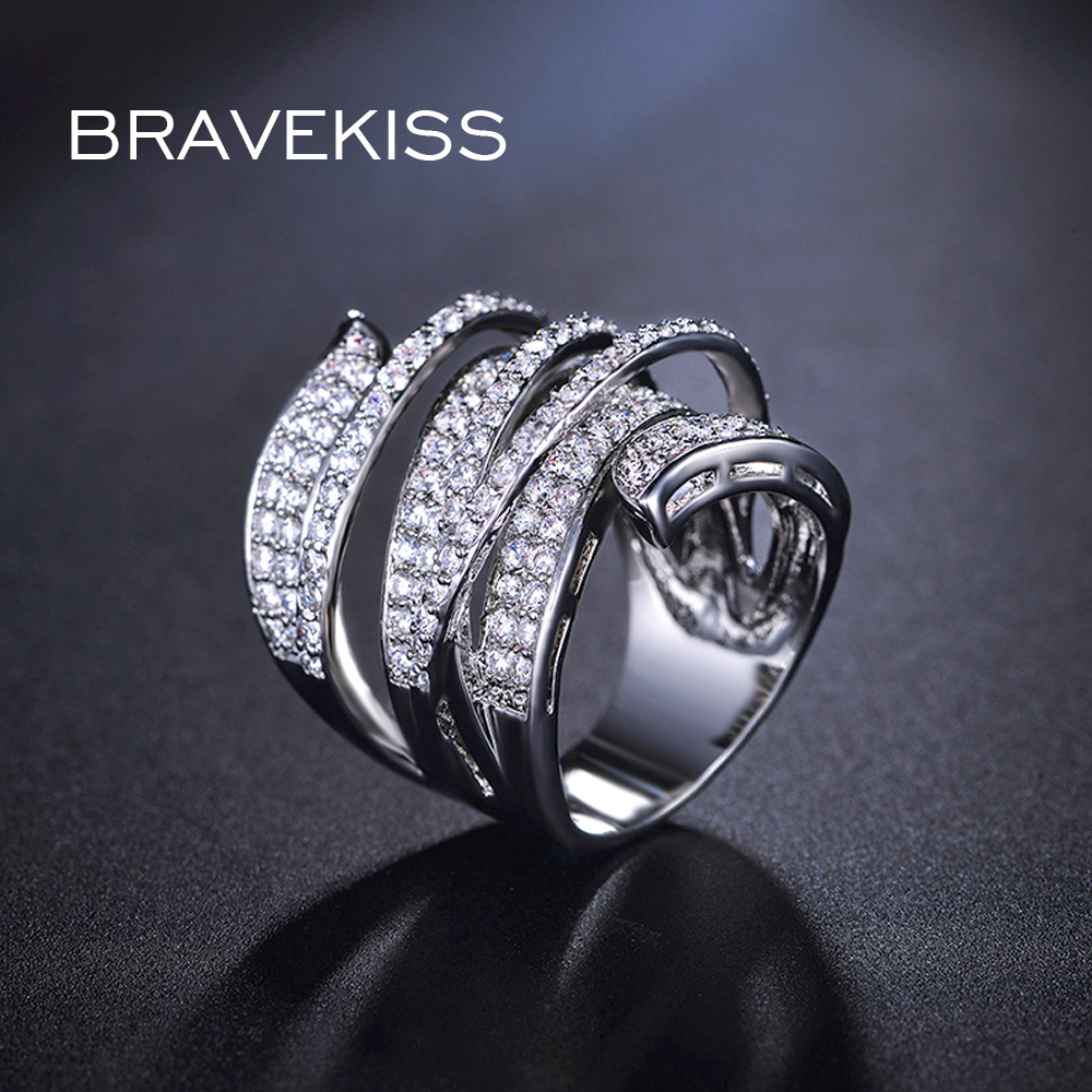 BRAVEKISS big party full finger rings crystal brincos for women cz multi layer cross knot wide rings band bijoux anillos BUR0205