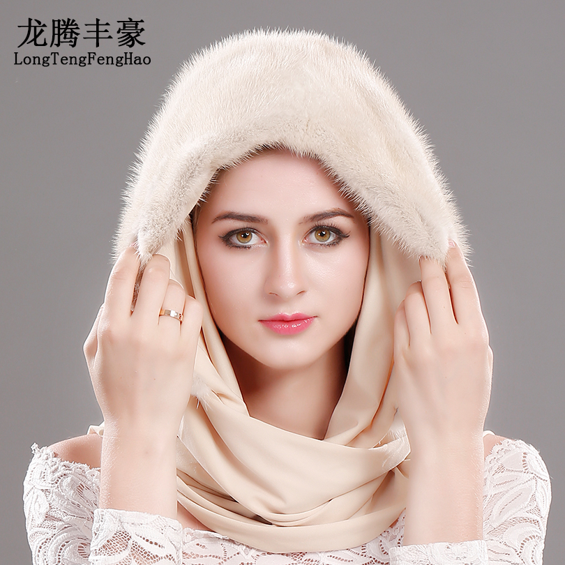 Hat For Winter 100% Genuine Mink Fur Beanies Hat With The Scarf High Qualitity Natural Fur Hats Female The Whole Skin With Scarf