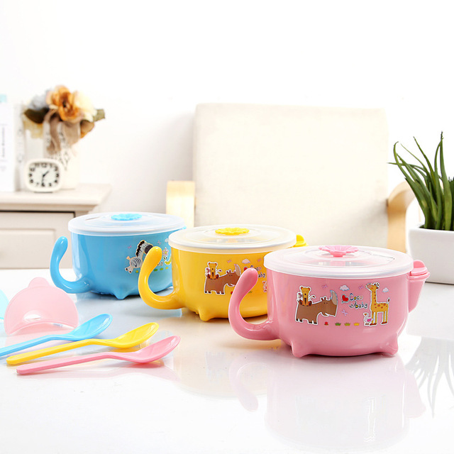 Baby Warming Bowl 410ml Thermal Stainless Steel Bowls Children Dinnerware Kids Dishware Thermos Food Container Training Suction