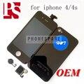 Melhor qualidade aaa lcd + de toque digitador da tela + back cover + home button assembléia para iphone 4 4s, preto/branco
